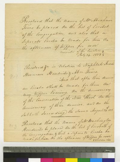 Resolutions in regarding Harmon Hendricks, Naphtali Judah, Abraham Touro, and Washington Hendricks