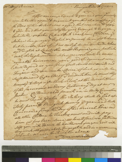 Copy of letter sent to Benjamin Pereira at Jamaica engaging him as teacher in K. K. S. I.
