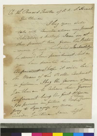 Letter from Mrs. G. Philips regarding her husband's punishment by the congregation