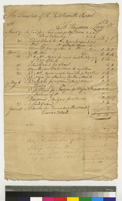 Bill of Hayman Levy to K. K. S. I.