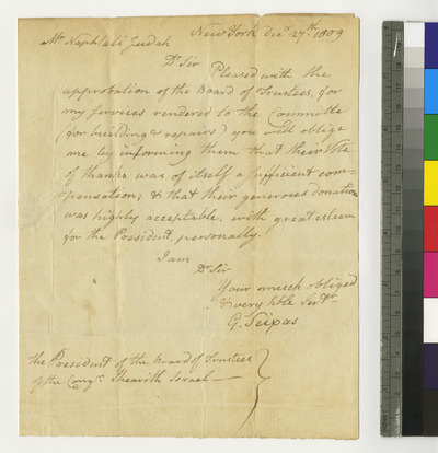Letter of Gershom Seixas to trustees
