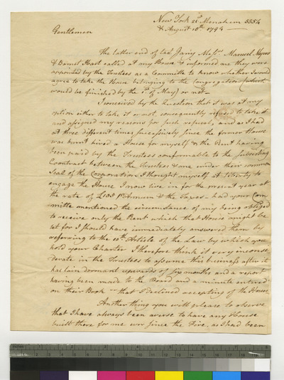 Letter from Gershom Seixas to K. K. S. I. regarding his house