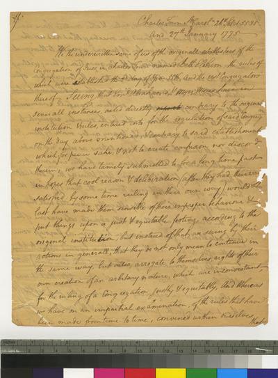 Fragment of Manuscript Minutes of Congregation Beth Elohim, Charleston, South Carolina