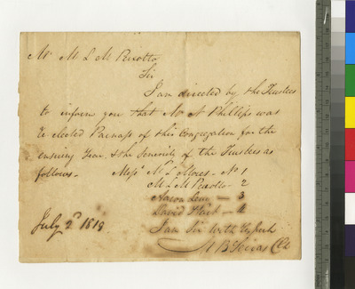 Letters to Reverend Peixotto announcing election of Naphtali Phillips as Parnas