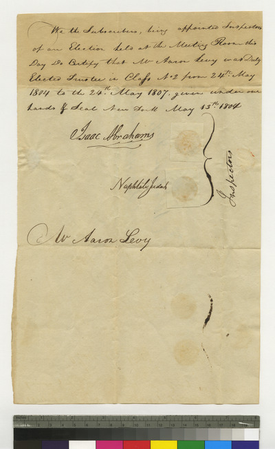 Letter announcing election of Aaron Levy as trustee of K. K. S. I.