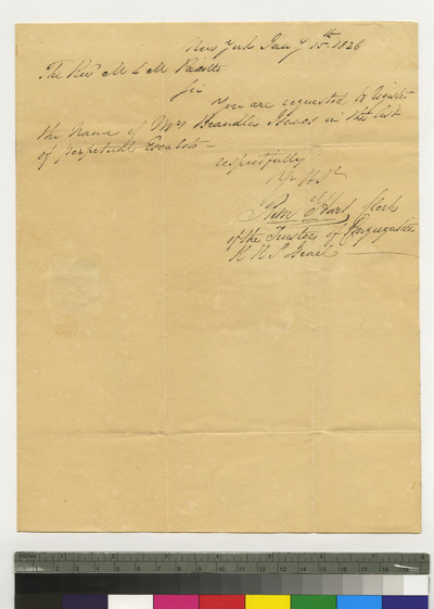 Letter to M. L. M. Peixotto to place Mrs. Brandley Isaacs on list of perpetual escaboth