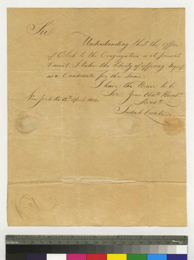 Judah Zuntz's application for clerk