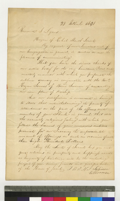 Letter of thanks to Jacques Judah Lyons