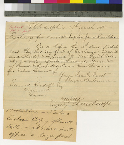 Copy of bill of exchange of Haym Salomon and letter regarding the same
