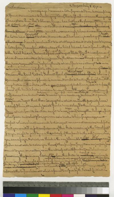 Draft of letter from Moses Seixas, Newport to K. K. S. I. regarding letter to President Washington
