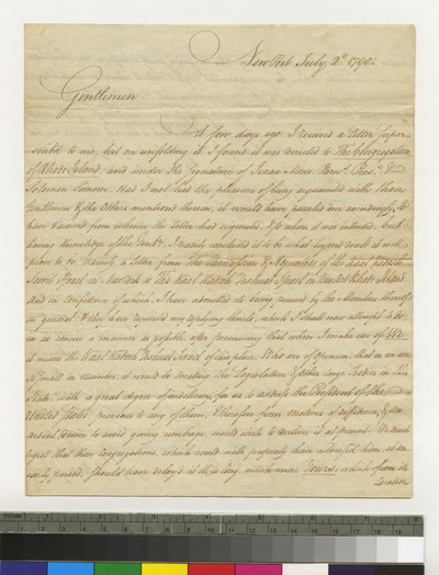 Letter from Moses Seixas, Newport, regarding joint letter to President Washington