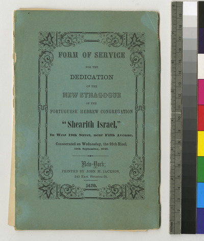 Service for the dedication of the new synagogue on 19th Street