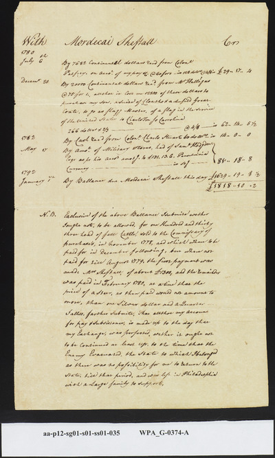 Mordecai Sheftall's Sworn Statement of Personal Losses Suffered by Him as Deputy Commissary General of Issues at Time Savannah was Captured, January 12, 1792 (1 of 2)