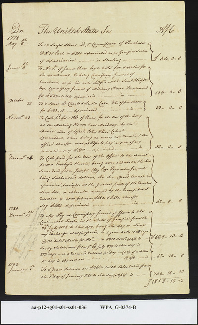 Mordecai Sheftall's Sworn Statement of Personal Losses Suffered by Him as Deputy Commissary General of Issues at Time Savannah was Captured, January 12, 1792 (2 of 2)