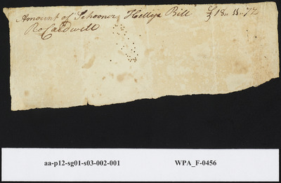 Invoice for the Amount of the Schooner Hetty's Bill Signed by Ro Caldwell, undated
