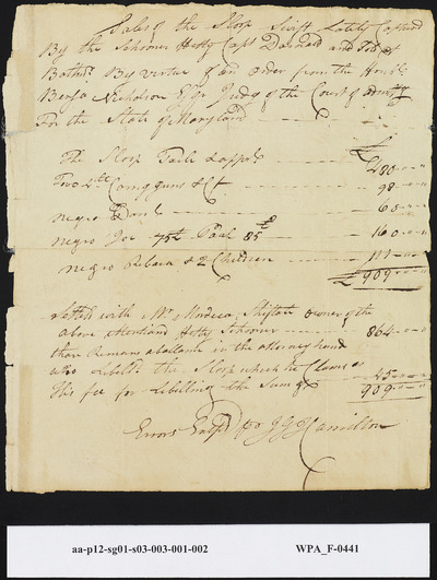 Sales Settlement for the Sloop Swift and Slaves, undated