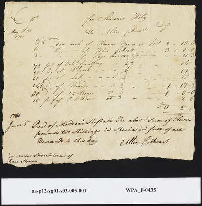 Receipt for Goods and Money Received from Mordecai Sheftall to Allin Cithcart, May 22, 1781 and June 1, 1781