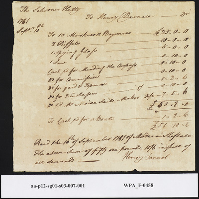 Receipt of Goods Exchanged for Pounds from Capt. Henry Darnal to Mordecai Sheftall, September 10, 1781