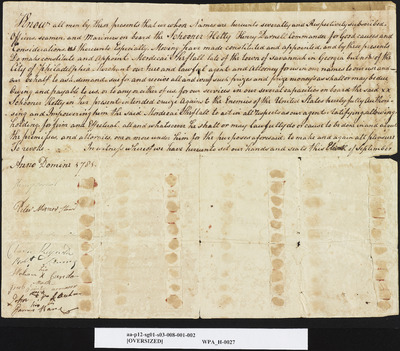 Schooner Hetty Ships' Crew Commissions with Crew Signatures, September 11, 1781
