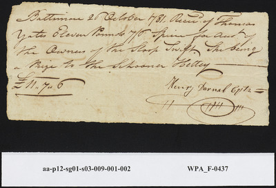 Received of Thomas Yates from Capt. Henry Darnal for Acct. of the Owners of the Sloop Swift,