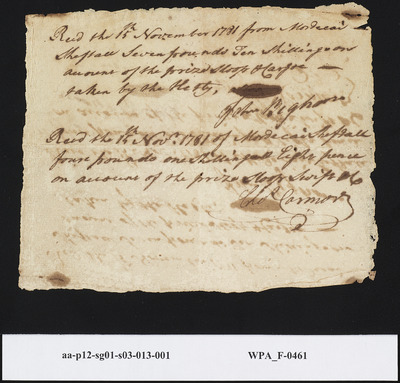 Receipts from John Bigham and Chas. Carmore for Prizes Received from Mordecai Sheftall from the Swift Sloop and Cargo, November 15, 1781