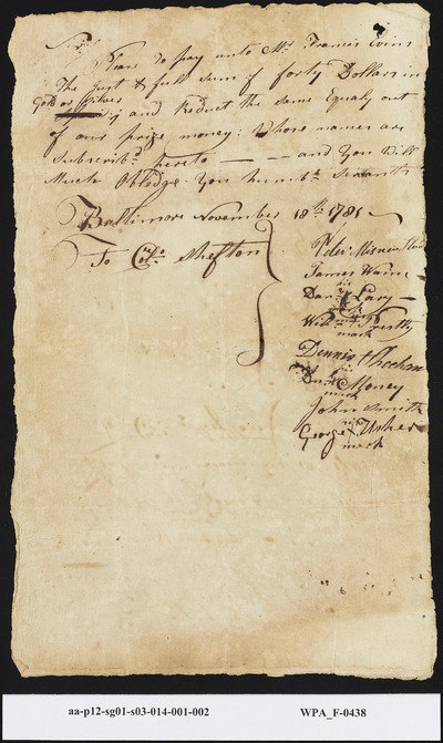 Request from Sailors to Pay Mr. Francis Evins Equal Monies from Their Prize Allotments, November 18, 1781