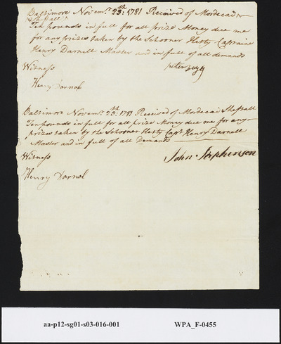 Receipts of Peter Fugey [?] and John Stephenson Acknowledging Pounds Received from Capt. Henry Darnal for Full Share of Prize Money Taken by the Schooner Hetty, November 23, 1781