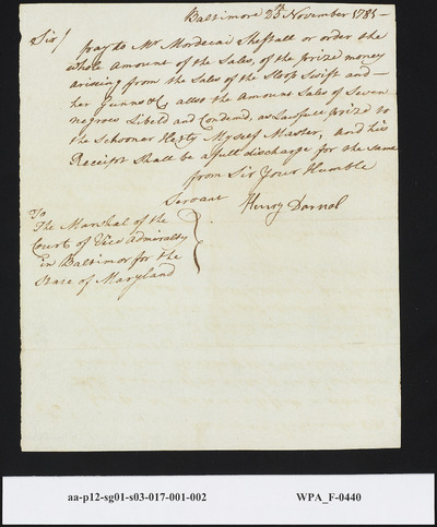 Capt. Henry Darnal Sworn Receipt Before the Court of the Vice Admiralty (Baltimore, MD) to Pay Mordecai Sheftall for Prize Money of the Sale of the Sloop Swift and Seven Slaves, November 25, 1781