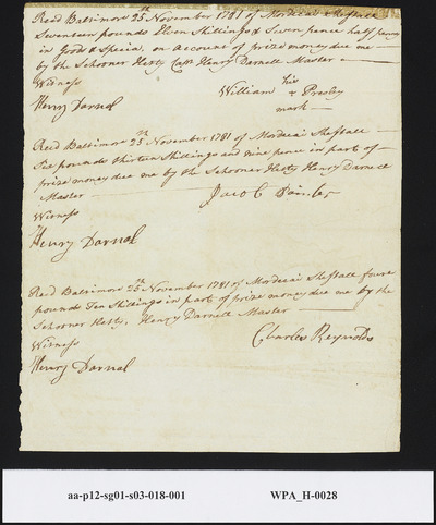 Three (3) Provision Returns from Henry Darnal to William Presley, Jacob Painter, Charles Reynolds, November 25, 1781
