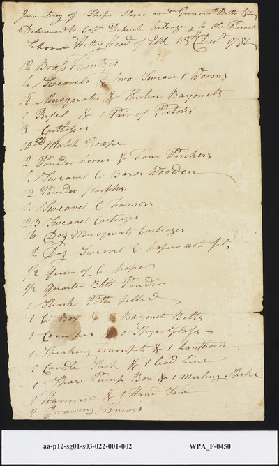 Inventory of Ship's and Gunner's Stores Delivered to Captain DeBurk from the Schooner Hetty at the Head of Elk Creek, December 11, 1781