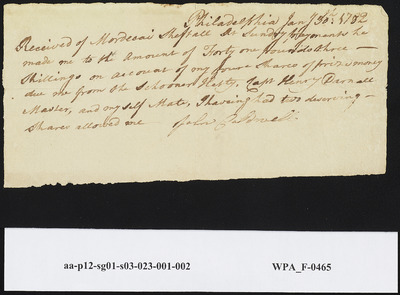 Receipt from John Caldwell from Acknowledging Prize Money Due Him from the Schooner Hetty, January 30, 1782