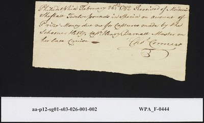 Receipt from Chas. Connor, Philadelphia, to Mordecai Sheftall, for Twelve Pounds, February 26, 1782