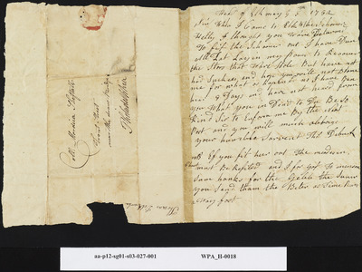 Thos. Deburk to [Mordecai] Sheftall on Stolen Goods from the Schooner Hetty, May 5, 1782