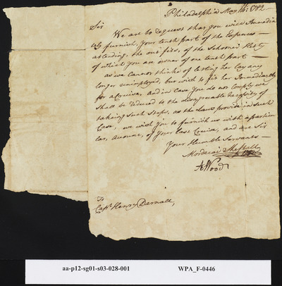 Mordecai Sheftall and A. Wood to Capt. Henry Darnell on Needed Share of Expenses to Set Sail, May 14, 1782
