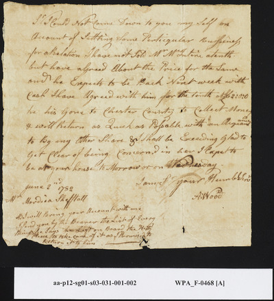 A. Wood to Mordecai Sheftall Regarding Settling of Accounts, June 2, 1782
