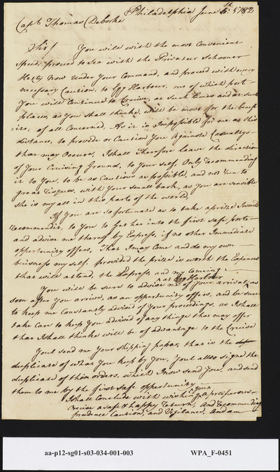 Mordecai Sheftall to Capt. Thomas DeBurk Commission Instructions to Egg Harbour, June 8, 1782