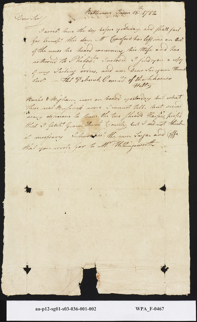 Capt. Thomas Deburk to Mordecai Sheftall on Arriving in Baltimore, June 15, 1782