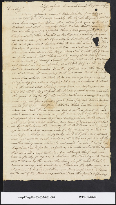 Captain Thomas DeBurk to Mordecai Sheftall on Voyage Issues, August 4, 1782