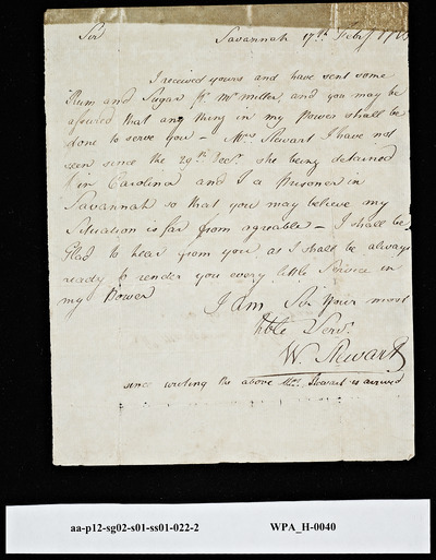 W. Stewart, Savannah, GA, Letter to Mordecai Sheftall on Rum and Sugar and Imprisonment, February 17, 1779