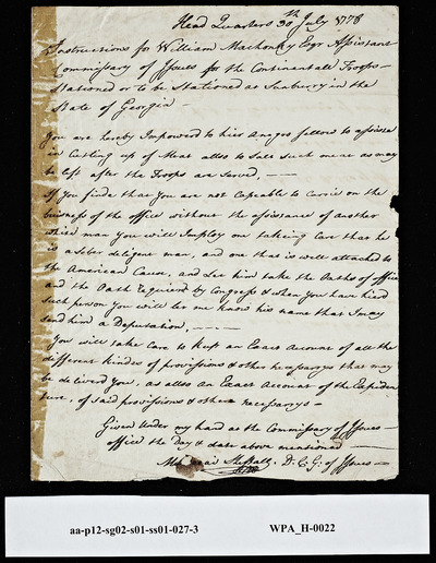 Instructions for William Machonky, Assistant Commissary of Issues from Mordecai Sheftall, Deputy Commissioner General of Issues, July 30, 1778