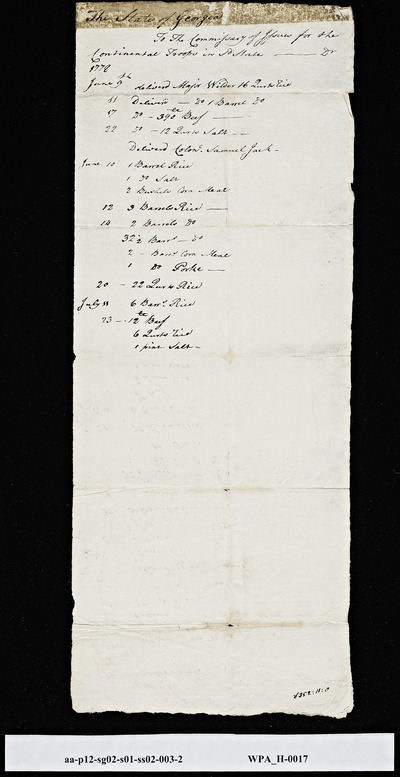 Account List of Items to the Commissary of Issues for the Continental Troops, June 9, 1778-July 11, 1778