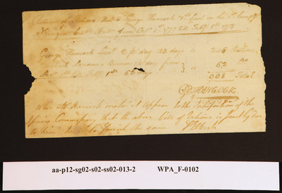 Provision Return for the 2nd Battalion Signed by George Hancock for Rations Due to George Hancock of the First Company,