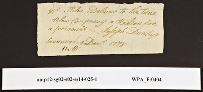 Provision Return for the True Blue Company Signed by Joseph Dunlap for One Prisoner, 12/1/1778