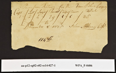 Provision Return for the True Blue Company Signed by John [?] with Numbers of Persons Provided For, 12/02/1778