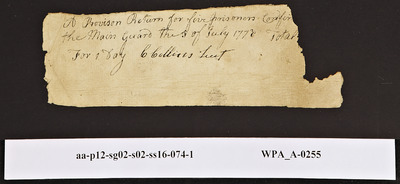 Provision Return for the Main Guard Signed by C. Colliers for Prisoners, 07/1778