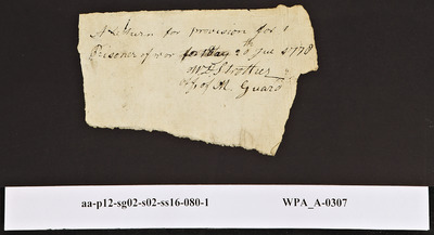 Provision Return for the Main Guard Signed by W.D. Strother for Prisoners, 07/20/1778