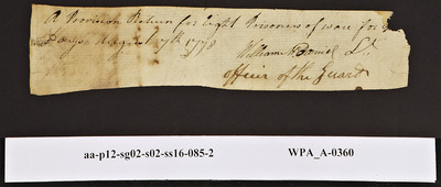 Provision Return for the Main Guard Signed by William McDaniel for Prisoners, 08/07/1778