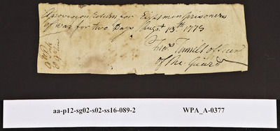 Provision Return for the Main Guard Signed by Frederick Tunnell for Prisoners of War, 08/13/1778