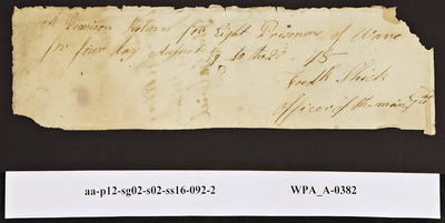 Provision Return for the Main Guard Signed by Frederick Shick for Prisoners of War, 08/17/1778