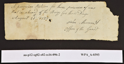 Provision Return for the Main Guard Signed by John Morrison for Prisoners of War, 08/21/1778